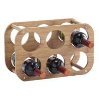 Zeller - Etagère rangement 6 bouteilles en bambou