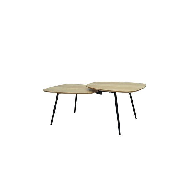 Table basse vintage en métal plaquée chêne