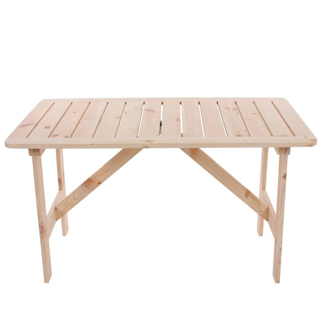 Mendler Table de jardin Copenhague, bois de pin massif, 130x80x71cm