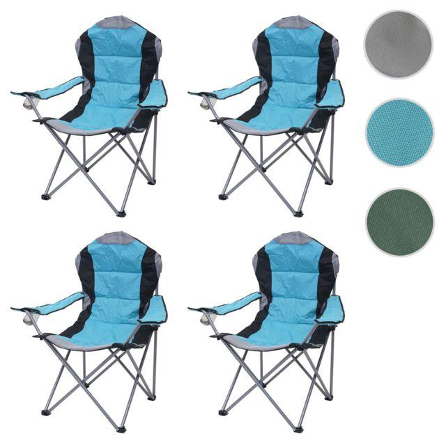 4x Chaise de camping Hwc d66, chaise pour pêcheur, pliable, rembourré ~ bleu