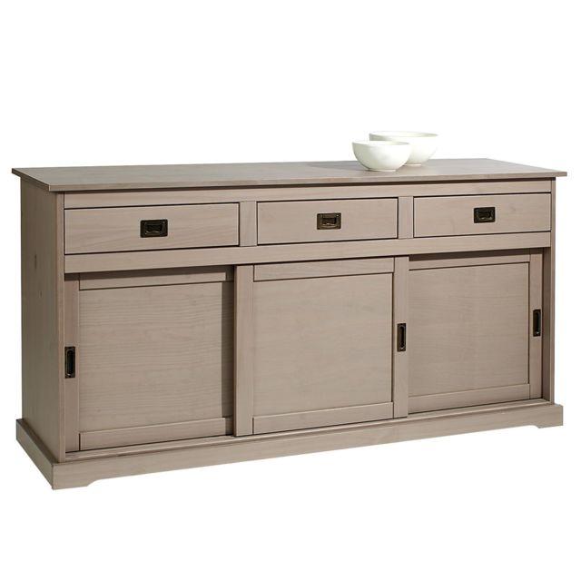 IDIMEX Buffet SAVONA bahut vaisselier commode avec 3 tiroirs et 3 portes coulissantes, en pin massif lasuré taupe
