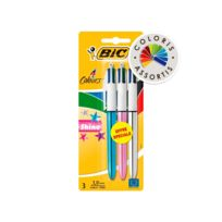 BIC - Lot de 3 stylos 4 couleurs Shine - Rétractables - Coloris assortis