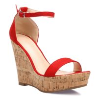 ac7650b3e2cdd9 Soldes Chaussures compensees rouge - Achat Chaussures compensees ...