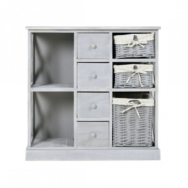 Mobili rebecca armoire commode 4 tiroirs 3 panier bois for Mobili rebecca