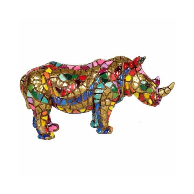 Statue en résine rhinocéros en mosaïque multicolore - 15 cm