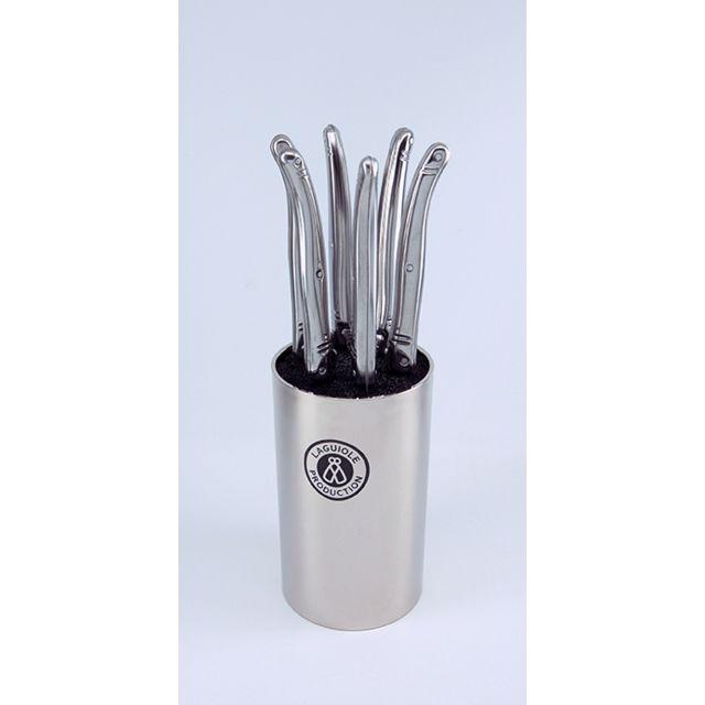 LAGUIOLE PRODUCTION Bloc argent 6 Couteaux Laguiole métal