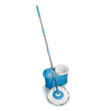 Balai serpillière magique rotatif et seau essoreur bleu - Bleu