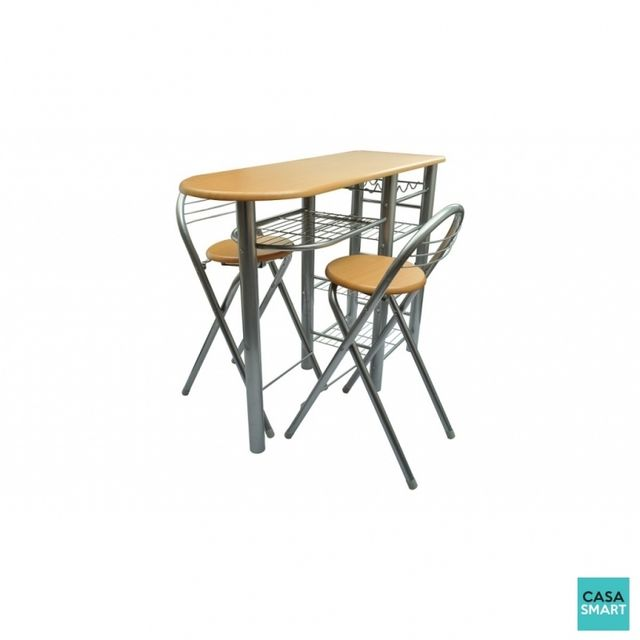 Casasmart Ensemble table bar + 2 chaises