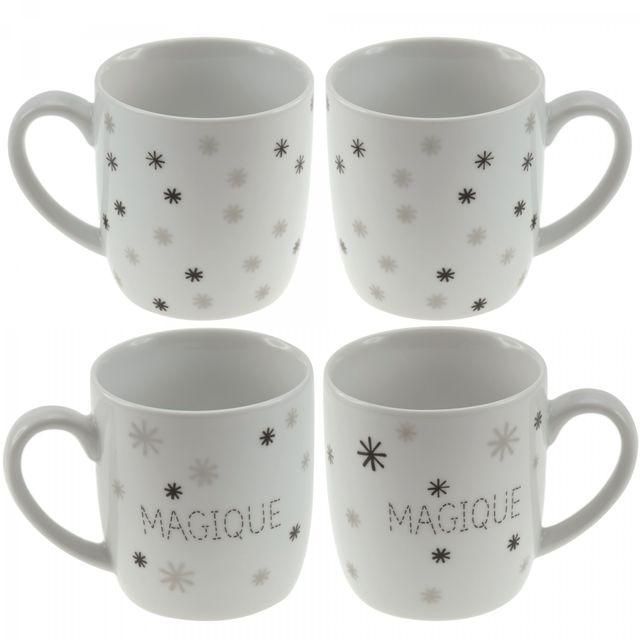 incidence mug ovale magique set de 4 blanc pas cher. Black Bedroom Furniture Sets. Home Design Ideas