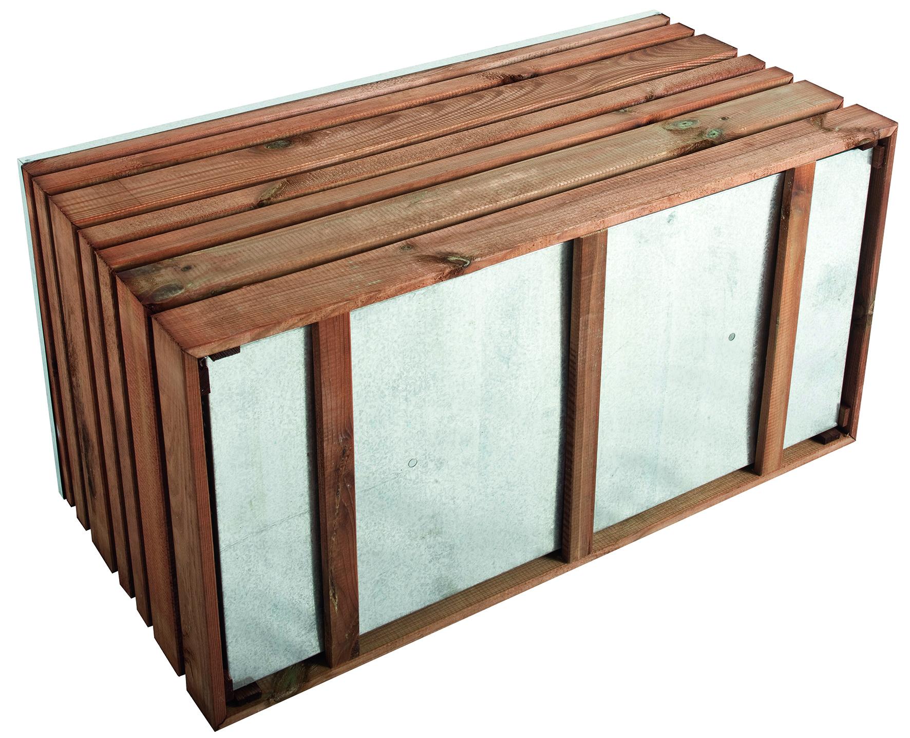 Bac à fleurs LIGN Z 100 rectangle - teinté marron - maxi volume 202 L