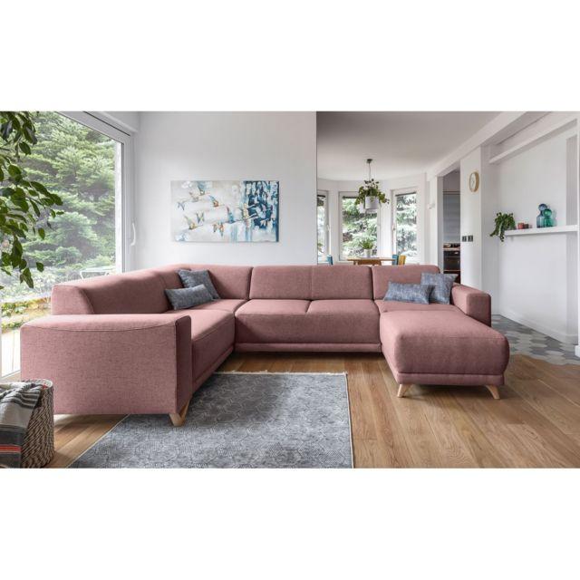 BOBOCHIC BELLA XXL - 8 places - Canapé Angle Gauche Panoramique - Fixe - Rose Poudré