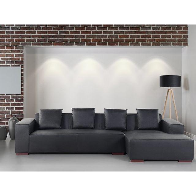 Beliani Canapé d'angle - canapé en cuir noir - sofa Lungo G