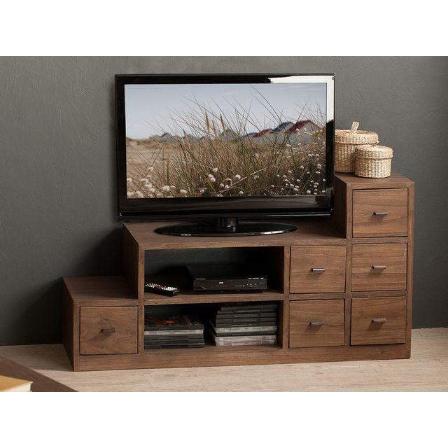 marque generique meuble tv bas en bois avec niches et tiroirs l105cm elia vendu par. Black Bedroom Furniture Sets. Home Design Ideas