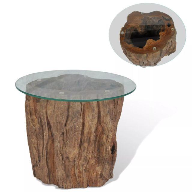 Vidaxl Teck Table Basse Verre 50x40 cm Table de Salon Mobilier de Salon Meuble