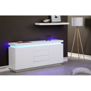 flash buffet 175cm blanc laqu avec led bleue pas cher achat vente rueducommerce. Black Bedroom Furniture Sets. Home Design Ideas