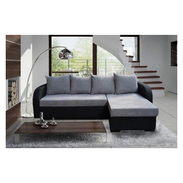 MEUBLESLINE Canapé convertible en lit EDDY gris et noir