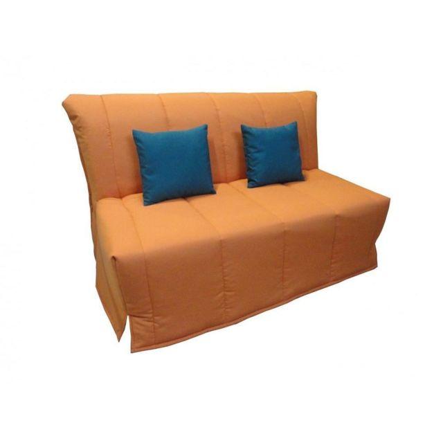 INSIDE 75 Canapé BZ convertible FLO orange 160 200cm matelas confort BULTEX inclus