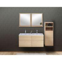 Ensemble salle de bain chêne 120 cm meuble + vasque + 2 miroirs +  demi-colonne Enio