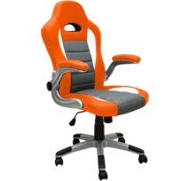 Rocambolesk - Superbe Fauteuil De Bureau Gris Orange Au Look Sport - Surface Pu Ergonomique Réglable Neuf