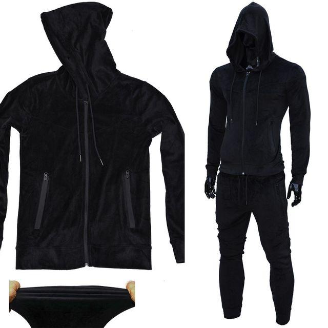 cc8db4e1a8cae3 No Brand - Survetement Af-max velours peau de peche elastique Stretch Noir  slim-