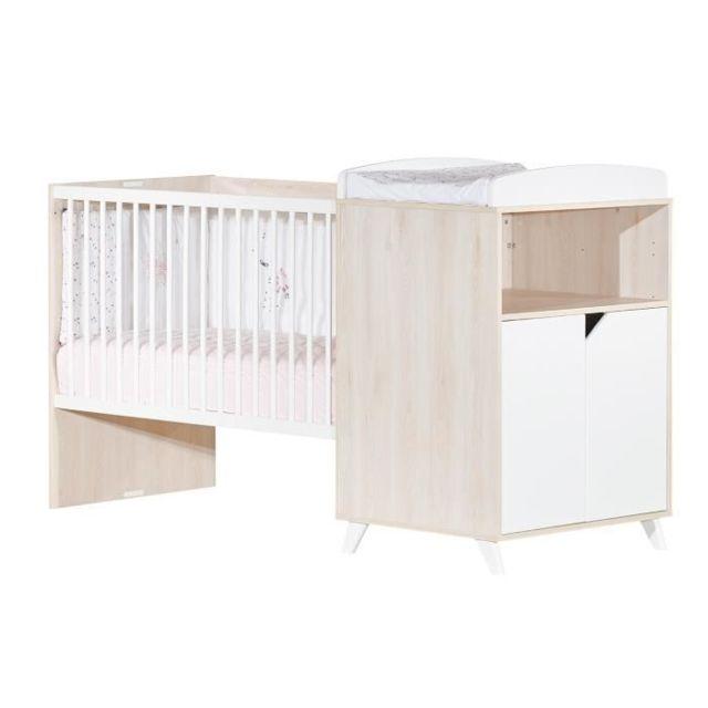 LIT BEBE Babyprice - SCANDI NATUREL - Lit Combiné Evolutif 120x60 en 90x190
