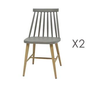Lot de 2 chaises scandinave gris