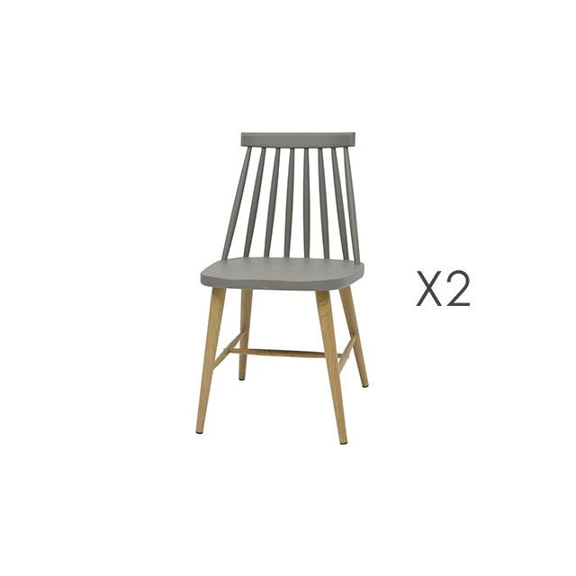 Lot de 2 chaises scandinave gris