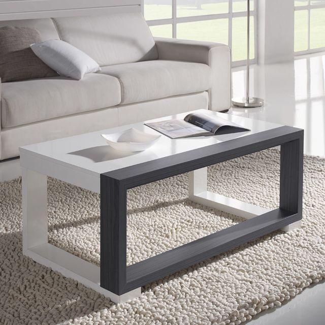 Sofamobili Table basse relevable blanc et noyer ou blanc et cendré contemporaine Ananda