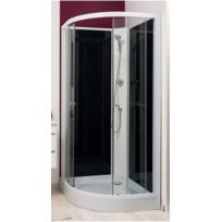 Aqua + - Cabine de douche Gena Blanc, sans silicone - 90 cm