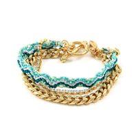 Blue Pearls - Ettika - Bracelet d'Amitié Cristal Blanc, Coton Tressé Vert et Plaqué Or jaune - Etk 0174