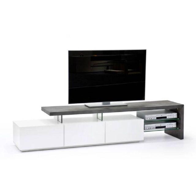 Inside 75 Meuble Tv design Alrik 3 tiroirs structure laquée blanc mat plateau décor béton