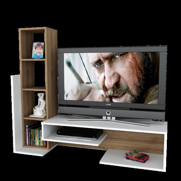 Alphamoebel Meuble Tv Bend blanc-noyer 130,9x153,6x39 cm