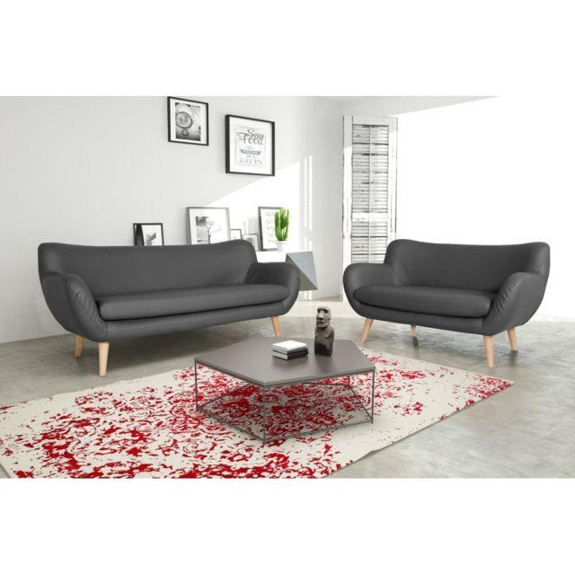 Rocambolesk Canapé Adele 3+2 Pu soft 29 gris avec pieds naturels sofa divan
