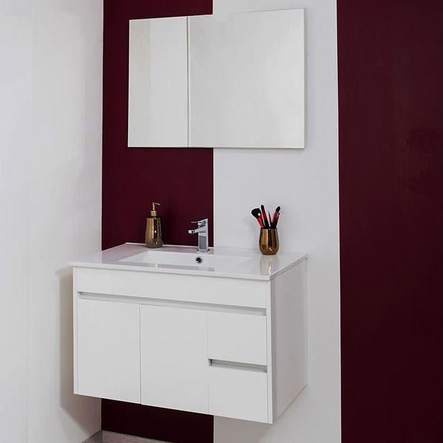 vasque en porcelaine Evidence - Meuble suspendu 80 cm Mica, blanc + vasque porcelaine + miroir