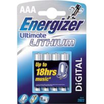 Energizer - Pile Ronde Lithium Ultimate - Modèle:FR03 - Type:AAA - Cond.:4