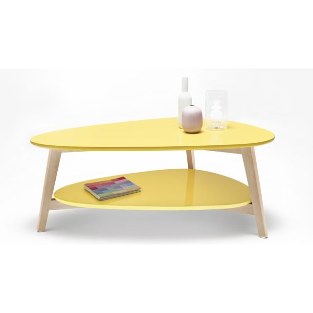Bobochic Table basse Scandinave - Jaune