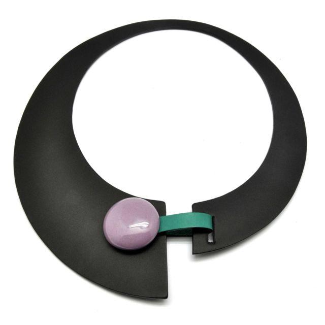 Ceraselle Collier Large cuir et céramique Noir et violet