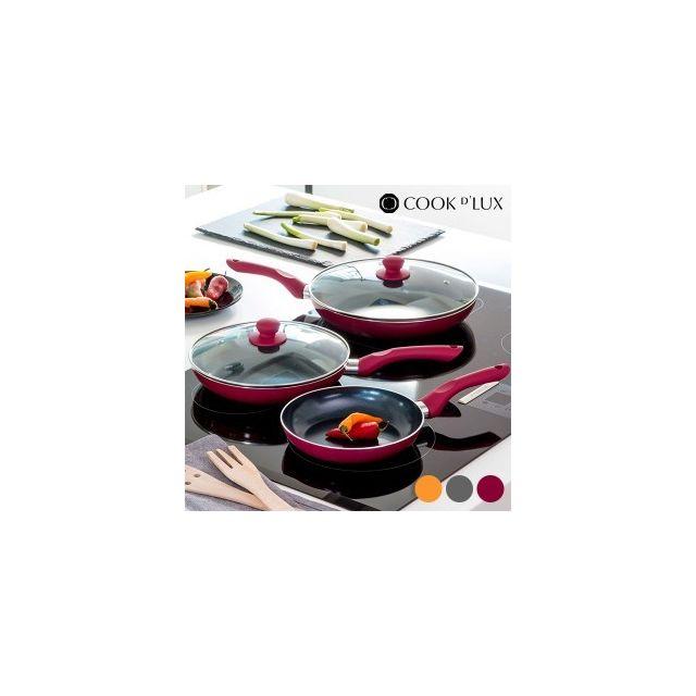 Appetitissime Poêles en céramique Cook D'Lux 5 pièces, Couleur Bordeaux