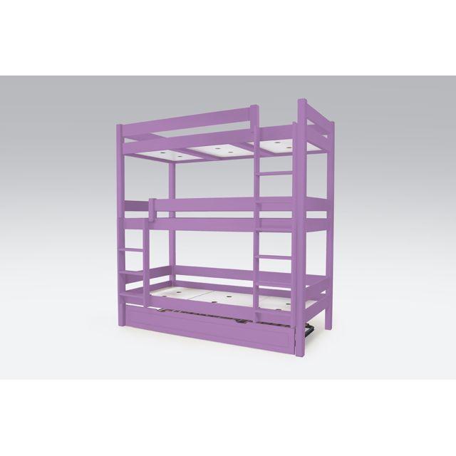 abc meubles lit superpos abc 4 places en bois massif 90x190 lilas 90cm x 190cm pas cher. Black Bedroom Furniture Sets. Home Design Ideas
