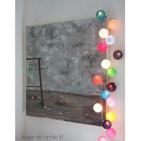 Atelier De Famille - Guirlande lumineuse 20 boules en coton longueur 5m - Multicolore