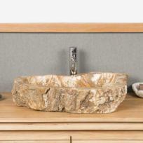 Wanda Collection - Vasque de salle de bain à poser en bois pétrifié 60 cm