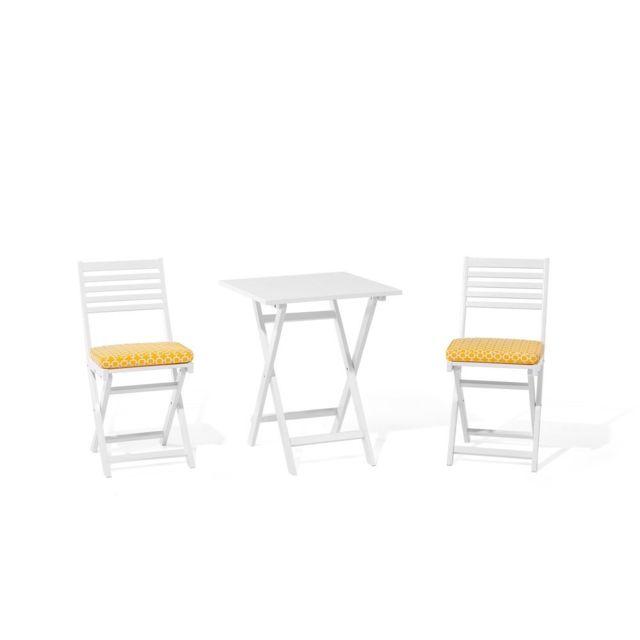 BELIANI - Table et chaises de jardin blanche avec coussin avec motif ...