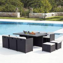 Sunset 10 : salon de jardin encastrable 10 places en résine tressée et  aluminium noir/blanc