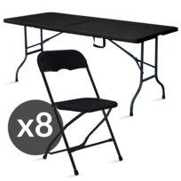 Table Et Chaise Pliante Noir Ensemble De Jardin Pliable