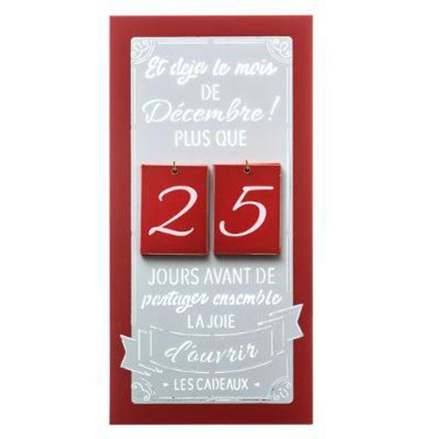 Calendrier De Lavent Cm.Calendrier De L Avent En Bois Coloris Rouge Gris Dim L 20 X P 3 2 X H 40 Cm