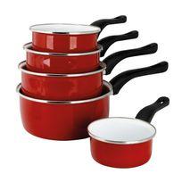 Sitram - Lot de 5 casseroles en acier émaillé avec poignée diamètre 12 à 20cm Vermillon