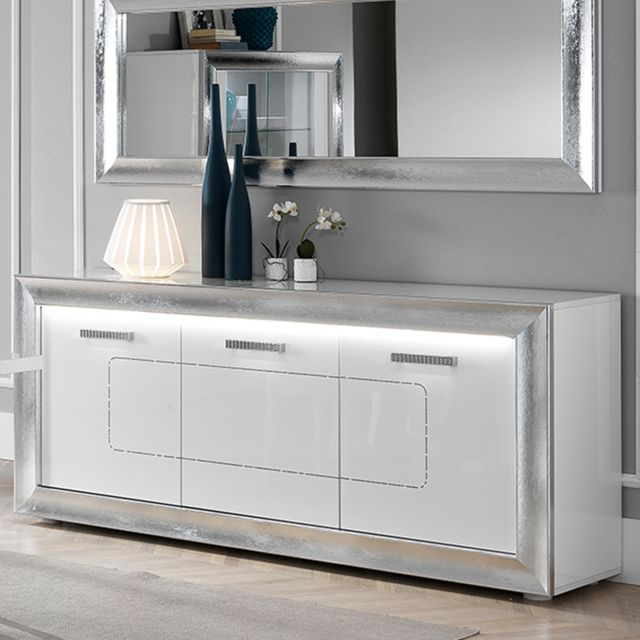 Nouvomeuble Buffet lumineux blanc laqué design Nevahe