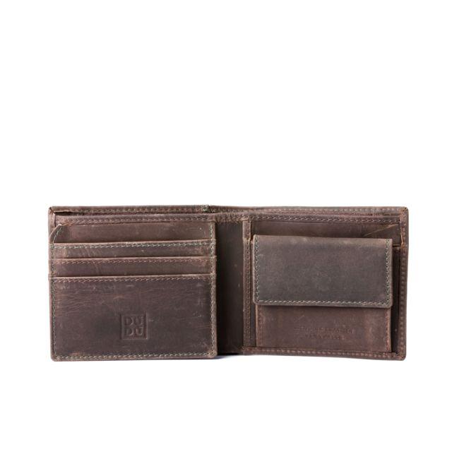 la meilleure attitude 6f75c 996b5 Petit portefeuille pour homme vintage en cuir avec poche zippée Brun foncé