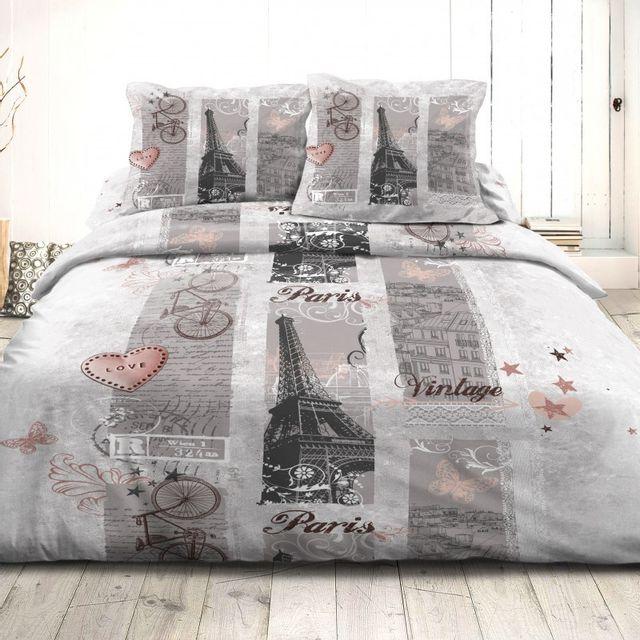 100pourcentcoton housse de couette 240x260 cm microfibre paris vintage 47 2 taies d 39 oreiller. Black Bedroom Furniture Sets. Home Design Ideas