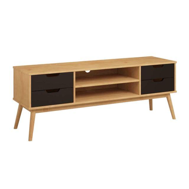 Kaligrafik Meuble tv en bois massif 1 porte 2 tiroirs Fifties - Noir